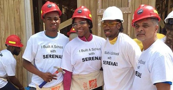 Serena with builders