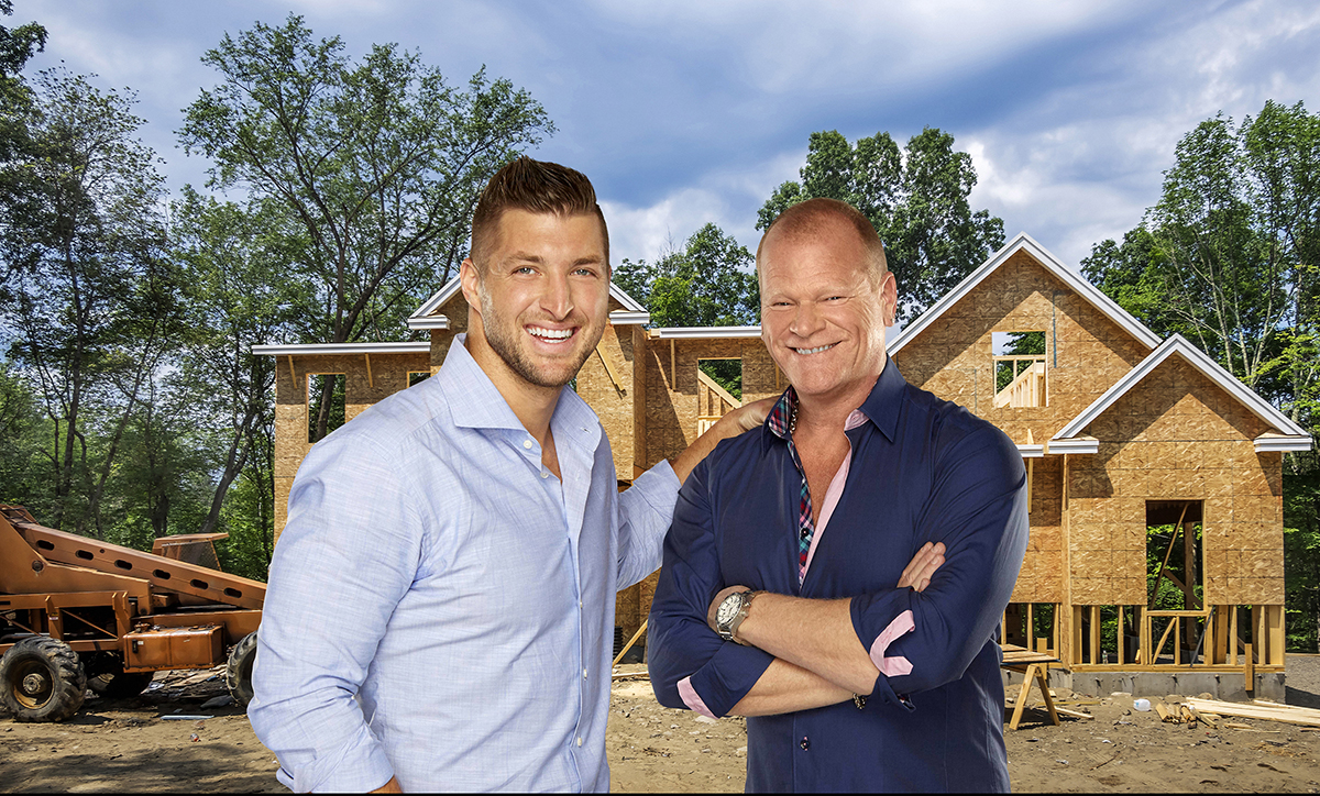 HOME FREE: L-R: Former NFL player, Heisman Trophy winner and sports analyst Tim Tebow and co-host professional contractor Mike Holmes. HOME FREE premieres Thursday, June 16 (9:00-10:00 PM ET/PT) on FOX. CR: Quantrell Smith / FOX. © 2016 FOX Broadcasting Co.