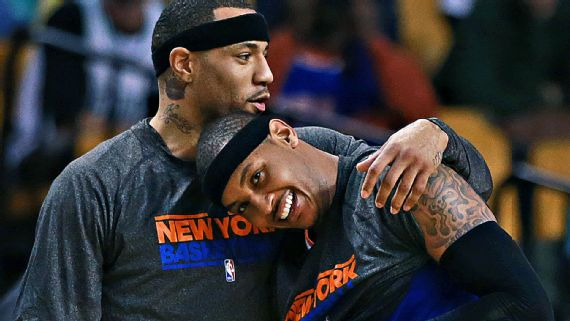 """Kenyon Martin, left, shown here during his time with the Knicks in 2013, and Carmelo Anthony were among the players criticized by former NBA coach George Karl in his new book, """"Furious George.""""Jim Davis/The Boston Globe/Getty Images"""