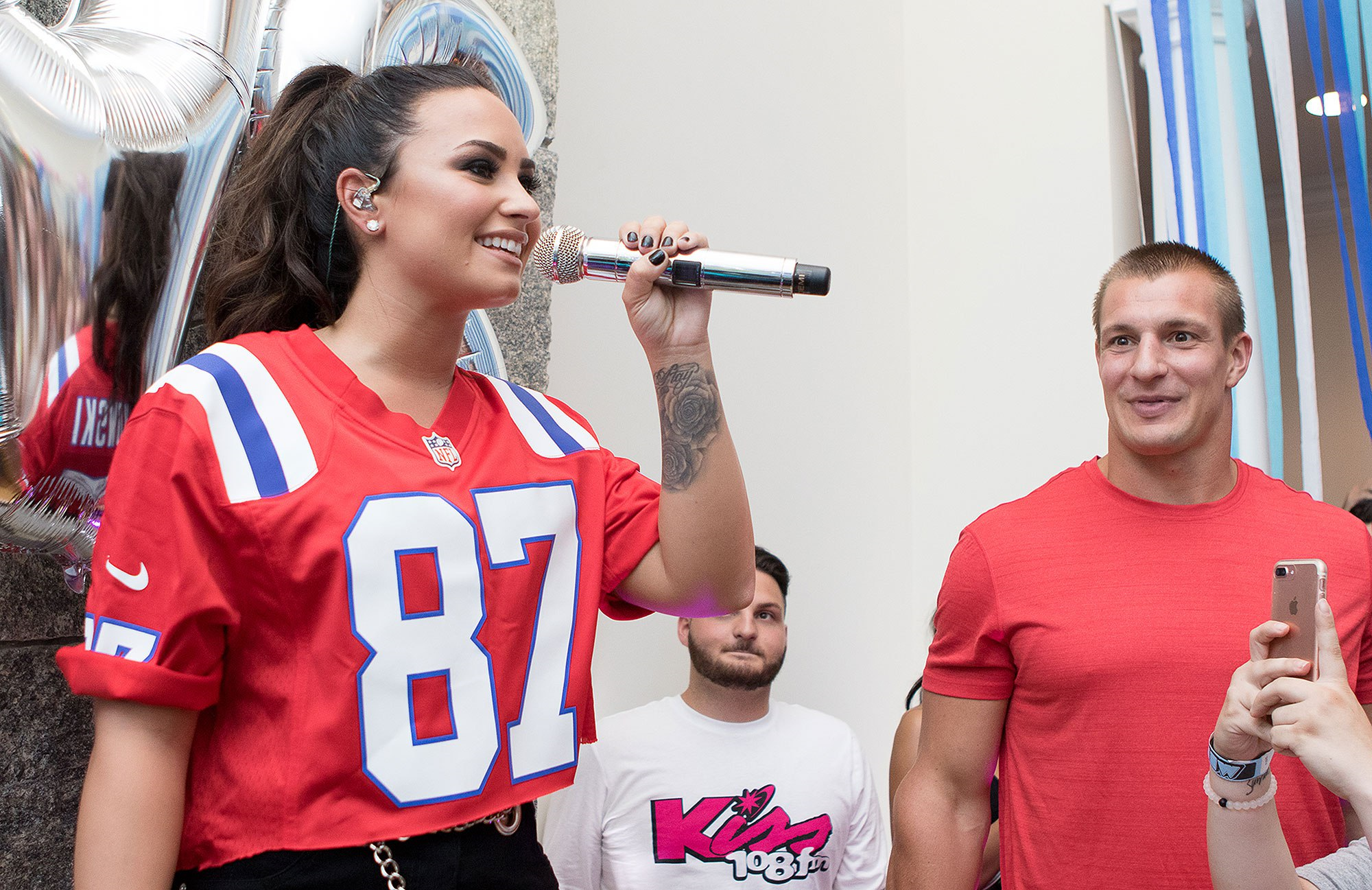 Demi Lovato and Rob Gronkowski at the Sorry Not Sorry House Party. (photo: Jordan Corey)